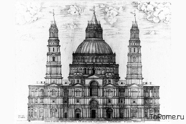 Чертёж собор Святого Петра в Ватикане от Сангалло