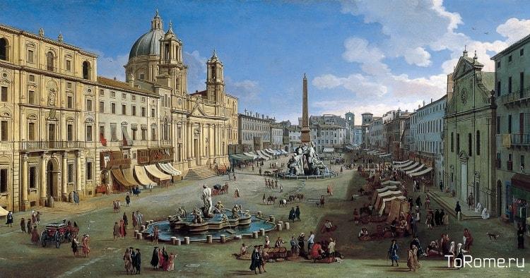 Площадь Навона в Риме в эпоху барокко