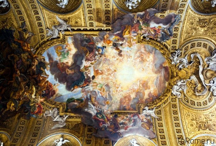Роспись потолка церкви Джезу в Риме