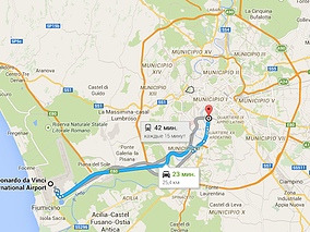 Трансфер из Фьюмичино в Рим. Карта