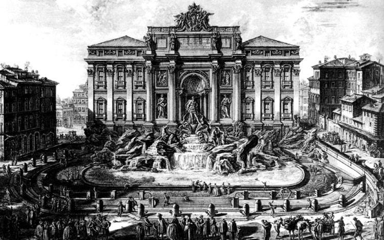 Фонтан Треви на гравюре Пиранези в 1773 году