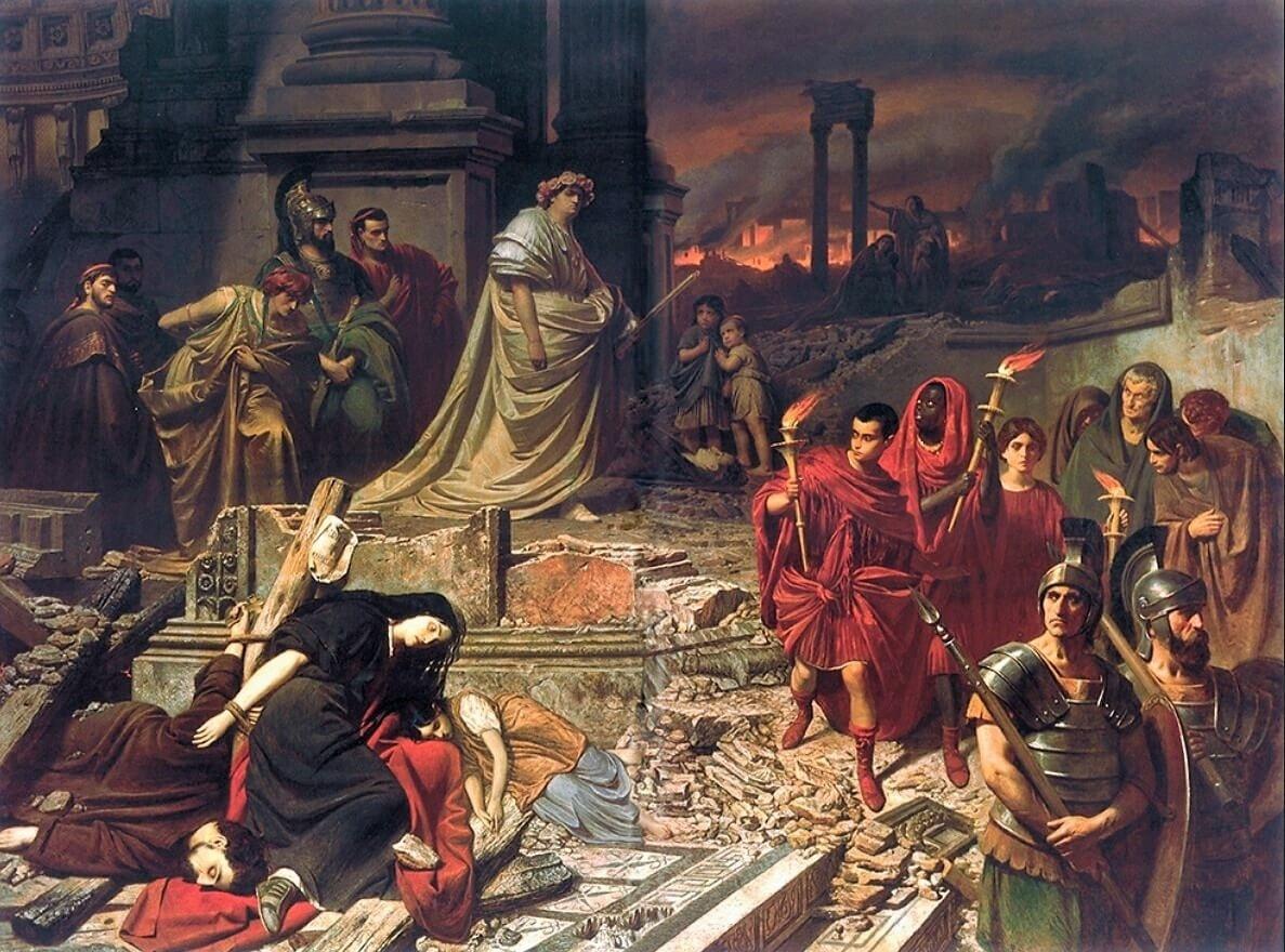 Картина Карла фон Пилоти «Нерон смотрит на горящий Рим»
