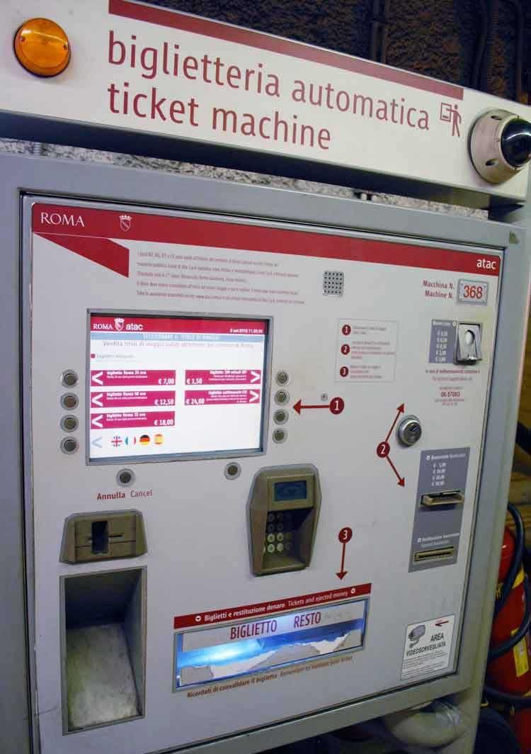 Как купить билет в метро Рима: автоматические кассы