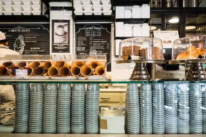 Мороженое в Come il Latte Gelateria в Риме