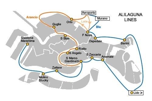Остановки Alilaguna из аэропорта Марко Поло в Венеции