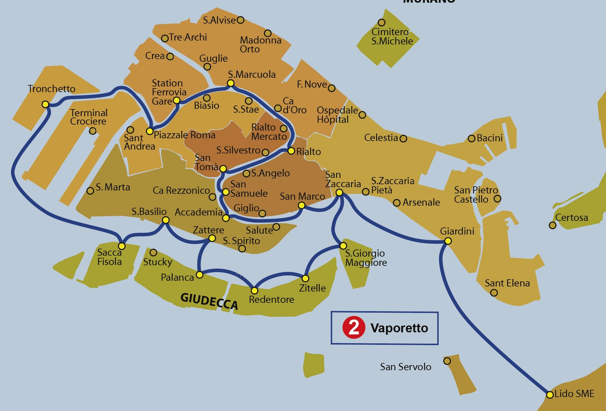 Схема маршрута вапоретто № 2 в Венеции