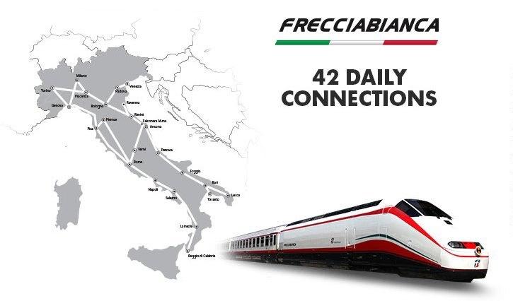 Карта скоростных поездов Frecciabianca
