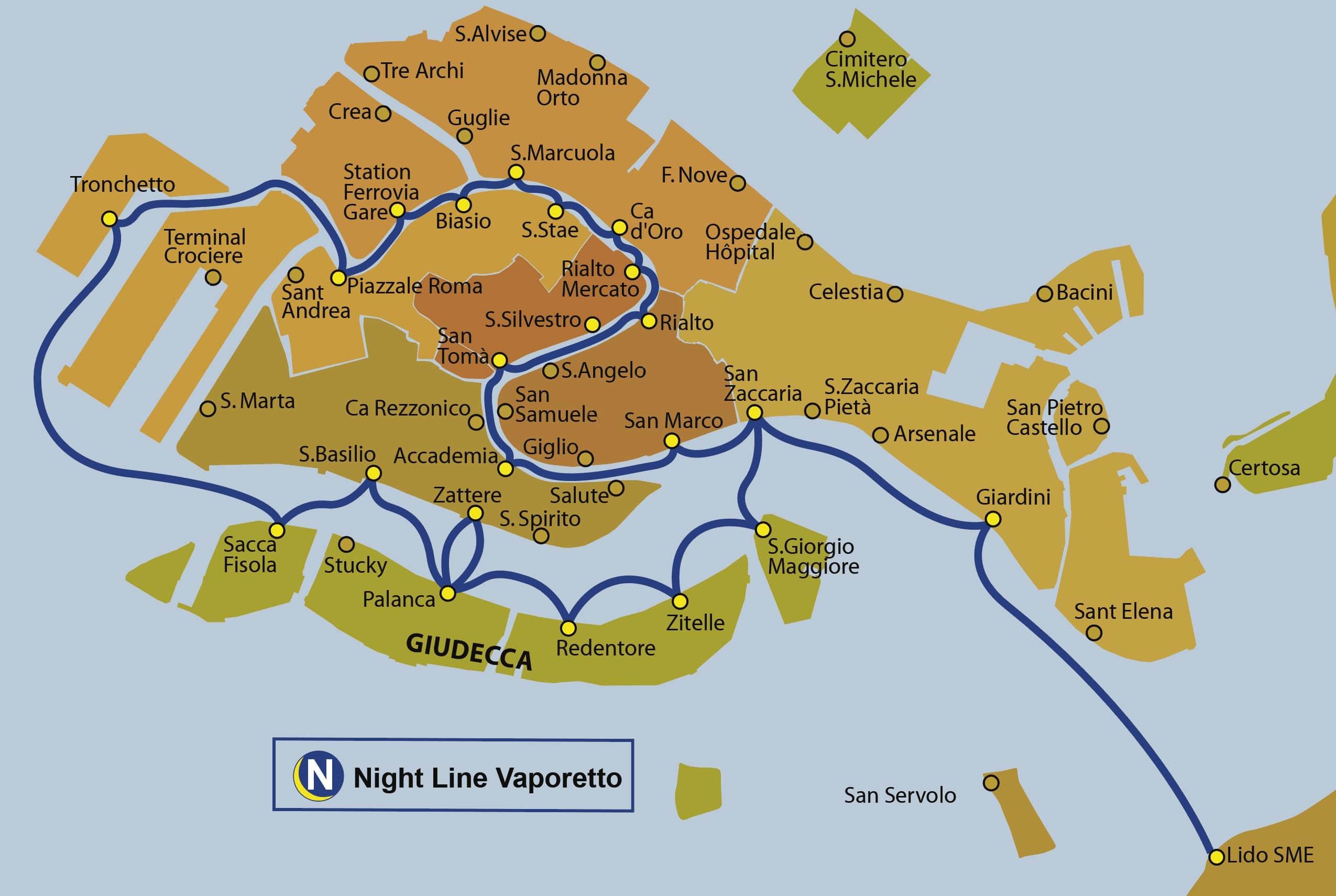 Схема ночного маршрута N вапоретто в Венеции