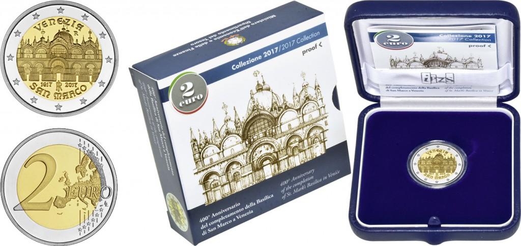 2 евро с изображение собора Святого Марка