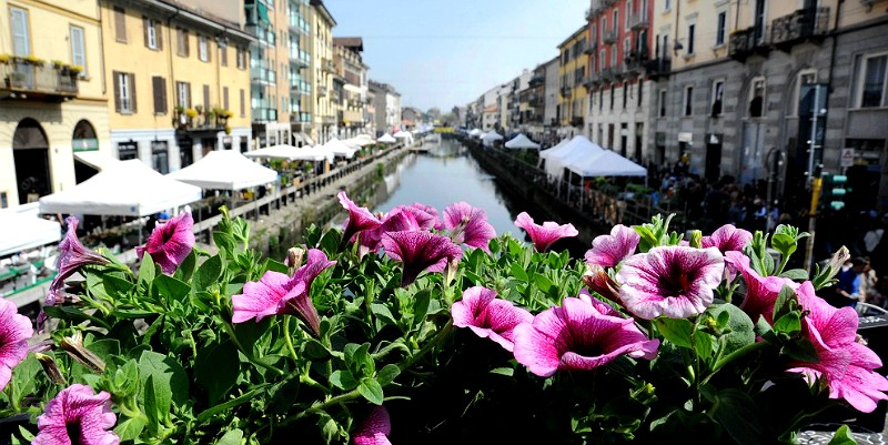 Район Навильи праздник цветов в Милане