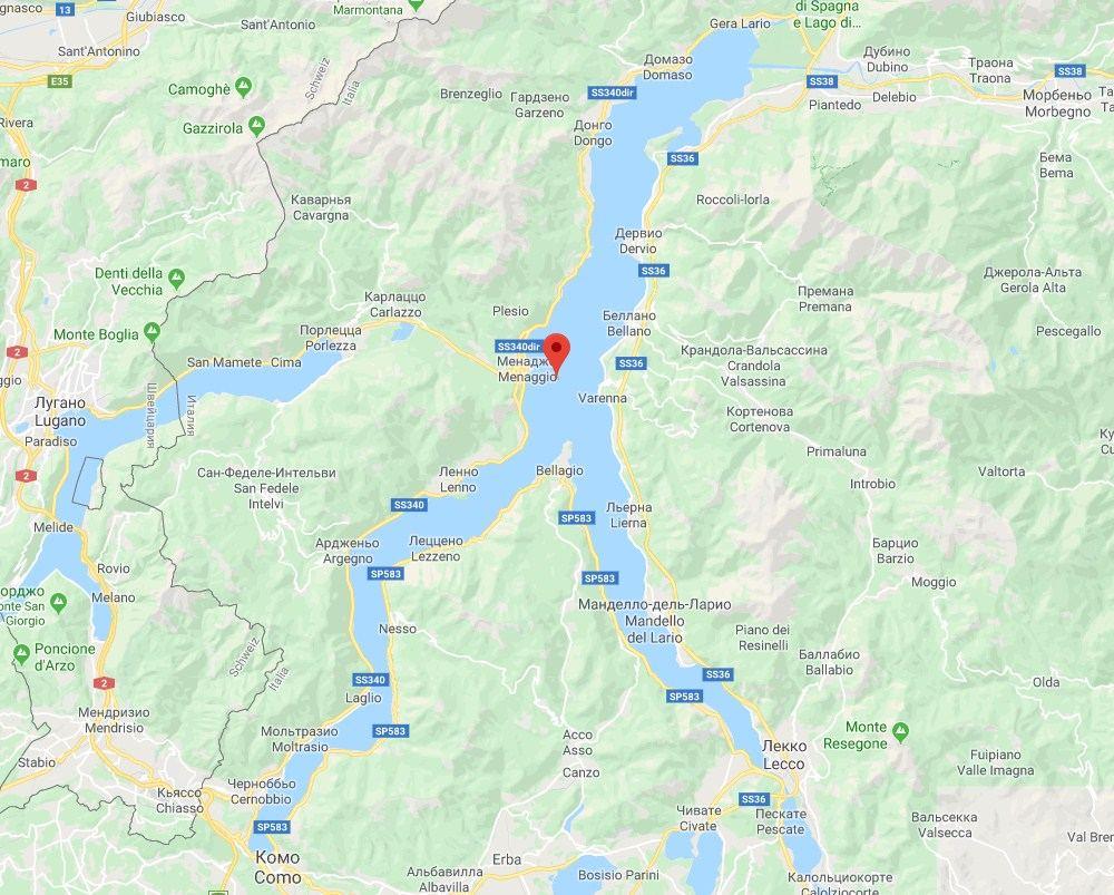 Озеро Комо в форме перевернутой буквы Y