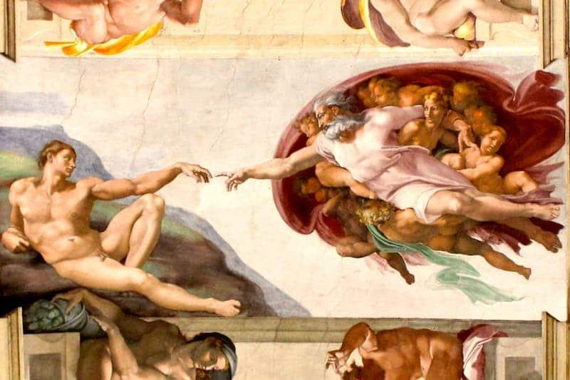 Фреска Микеланджело «Сотворение Адама»