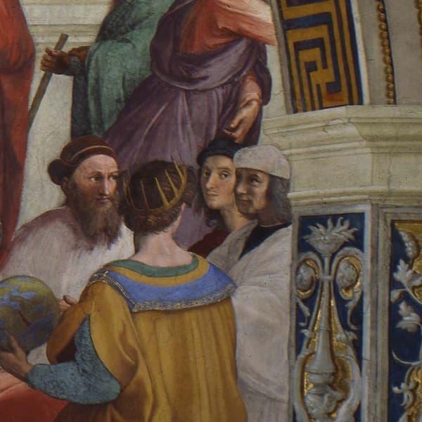 Рафаэль на фреске Афинская школа