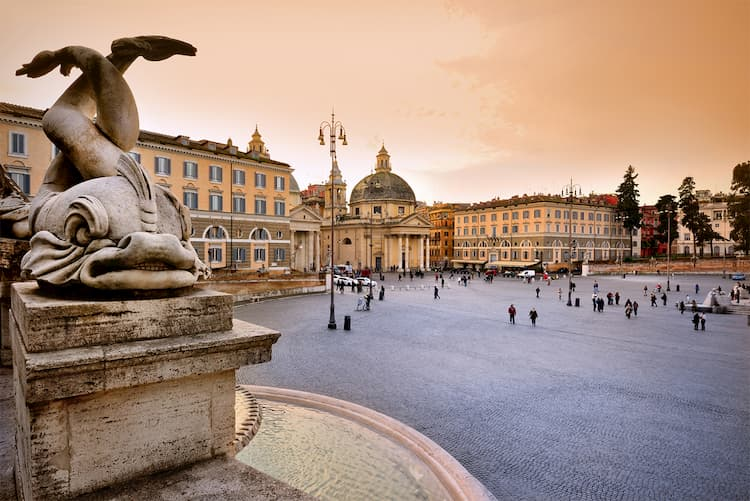 Площадь Пьяцца дель Пополо в Риме