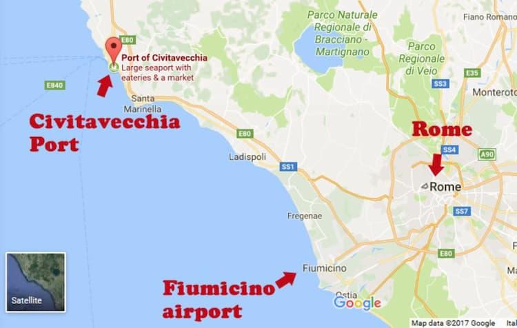 Где находится порт Чивитавеккья на карте Рима
